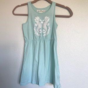 H&M light blue tank dress w seahorse print